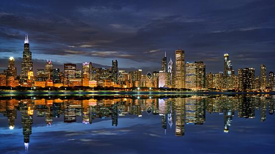 Street Style「Creative Symbol View of Chicago City. Night」:スマホ壁紙(4)