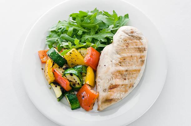 Chicken and roasted veg with lettuce on white plate:スマホ壁紙(壁紙.com)