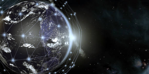 Earth View From Space With Global Communication Network:スマホ壁紙(壁紙.com)