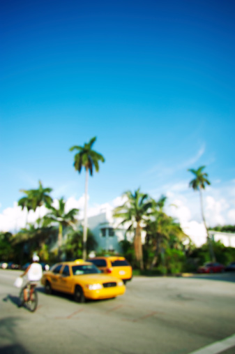 Unrecognizable Person「Defocus View Tropical Miami Scene with Taxi and Palm Trees」:スマホ壁紙(7)
