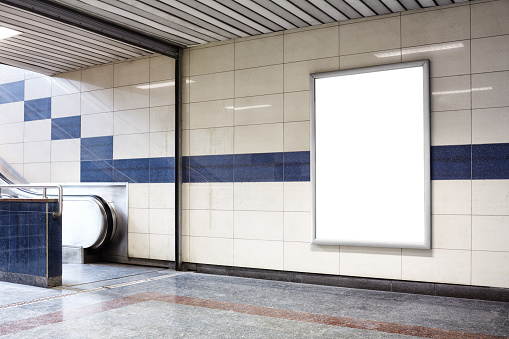 Sign「Blank billboard in a subway station wall.」:スマホ壁紙(11)