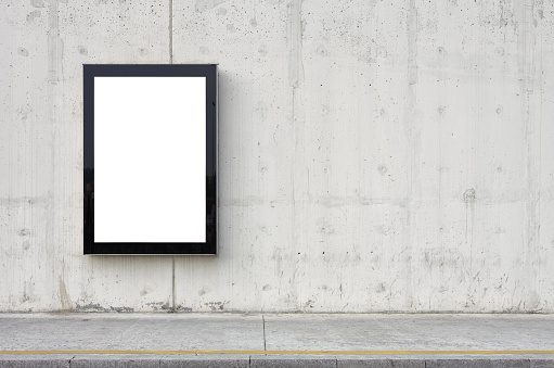 Banner - Sign「Blank billboard on wall.」:スマホ壁紙(0)