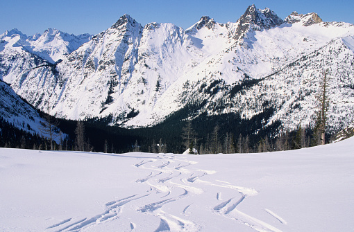 Ski Resort「Traces of skis on snow, mountain range covered with snow in background, Heli Skiing, North Cascades, Washington, USA」:スマホ壁紙(3)