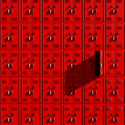 Ajar「Rows of red lockers with one locker door ajar」:スマホ壁紙(16)