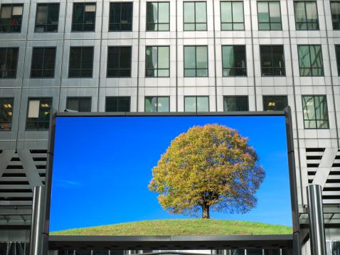 Single Tree「Lone tree on Advertising Billboard, London, Uk」:スマホ壁紙(1)