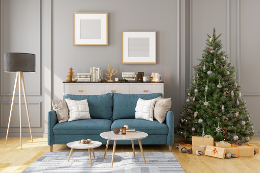 Christmas Decoration「Picture Frame, Sofa And Christmas Tree In Living Room」:スマホ壁紙(4)