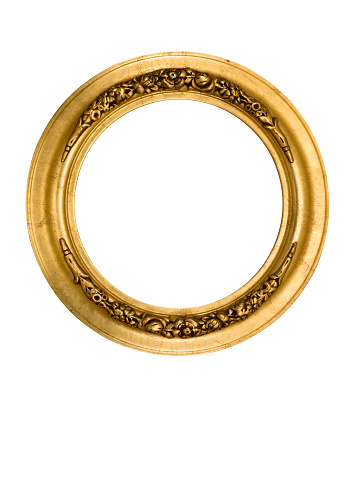 Ancient「Picture Frame Round Circle in Gold, Fancy, Elegant, White Isolated」:スマホ壁紙(2)