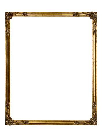 19th Century「Picture Frame Gold Art Deco, White Isolated Design Element」:スマホ壁紙(7)