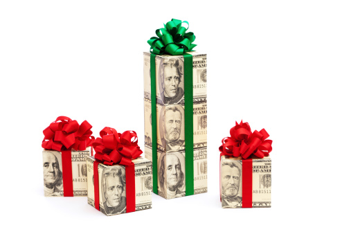 American One Hundred Dollar Bill「Cash Money Gifts with Red and Green Bows on White」:スマホ壁紙(0)