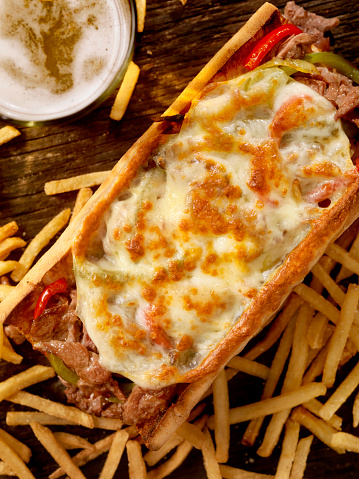 Toasted Food「Philly Provolone, Cheese Steak Sandwich with Fries and a Beer」:スマホ壁紙(14)