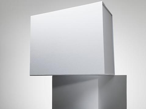 Gray Background「White box on a white plinth」:スマホ壁紙(8)