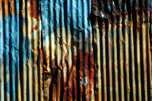 Funky「Rusty Painted Corrugated Metal, grunge pattern, irregular background」:スマホ壁紙(7)