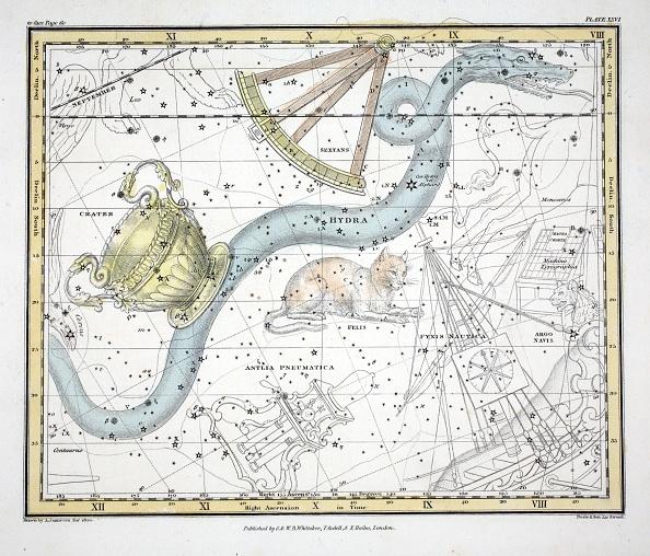 Hand Colored「The Constellations (Plate Xxvi) Hydra」:写真・画像(17)[壁紙.com]
