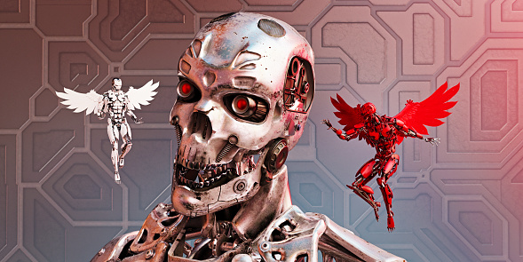 Evil「Chrome robot with good and bad winged alternatives hovering and whispering in his ear」:スマホ壁紙(4)