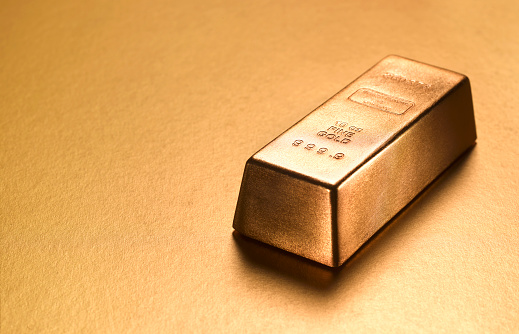 Number 9「Gold ingot with gold copy space」:スマホ壁紙(7)