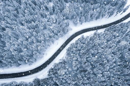 Drone Point of View「Winter Road」:スマホ壁紙(14)