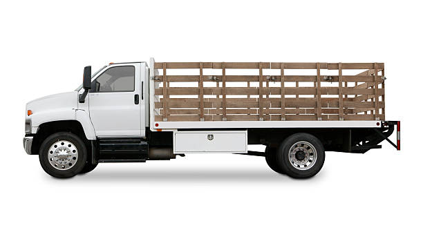 Flatbed truck with side rails isolated on white background.:スマホ壁紙(壁紙.com)