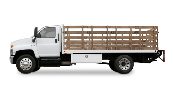Freight Transportation「Flatbed truck with side rails isolated on white background.」:スマホ壁紙(11)