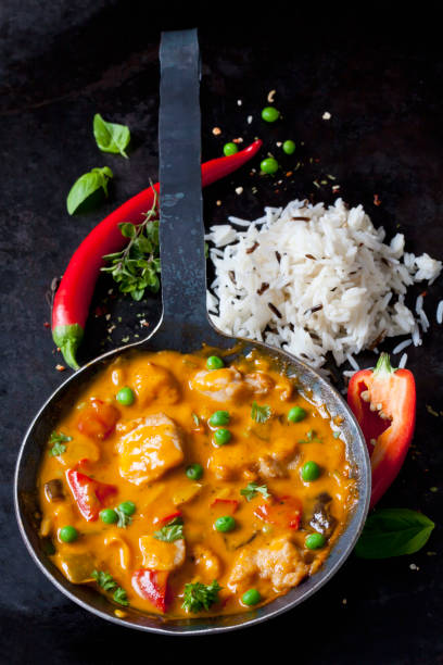 Thai Curry with chicken filets and basmati rice:スマホ壁紙(壁紙.com)
