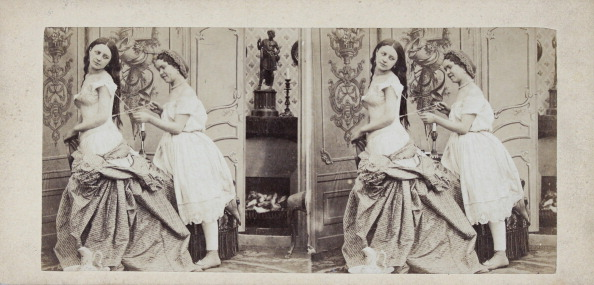 Corset「Boudoirscene (Lady With A Corset). About 1880. Stereophotograph.」:写真・画像(19)[壁紙.com]