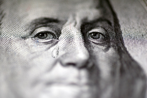 American One Hundred Dollar Bill「Tear falling from face on US dollar bill, close-up」:スマホ壁紙(15)