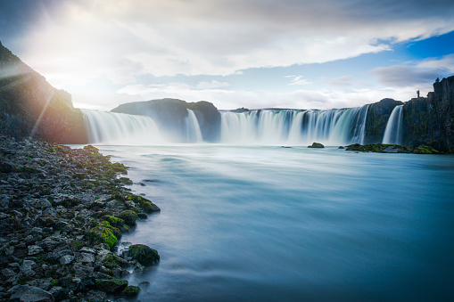 Atmospheric Mood「Godafoss Falls, Iceland with motion blur」:スマホ壁紙(11)