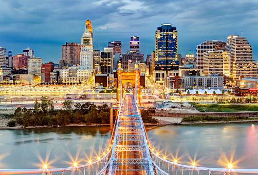 2014「Cincinnati skyline from atop Roebling Bridge」:スマホ壁紙(6)