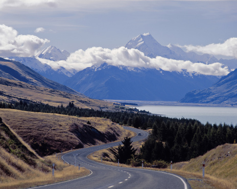 Mt Cook「View of Mount Cook (NZ's highest peak), Lake Pukaki in f/ground, New Zealand」:スマホ壁紙(12)