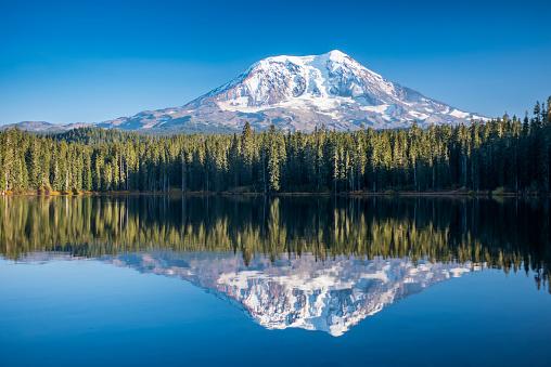 アダムス山「Mount Adams reflected in Takhlakh Lake, Gifford Pinchot National Forest」:スマホ壁紙(15)