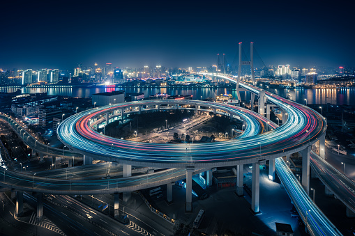 Elevated Road「Bridge traffic at night in ShangHai China」:スマホ壁紙(10)