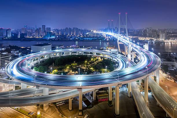 Bridge traffic at night:スマホ壁紙(壁紙.com)