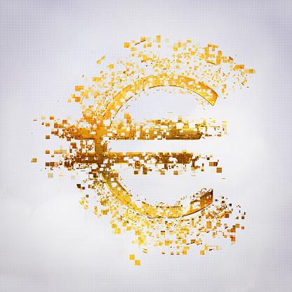 Deterioration「Pixelated Euro sign in sky」:スマホ壁紙(19)