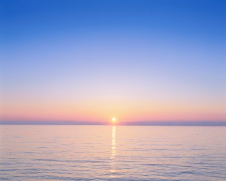 Pacific Ocean「Beautiful Sunrise Over the Ocean. Wakkanai, Hokkaido, Japan」:スマホ壁紙(1)