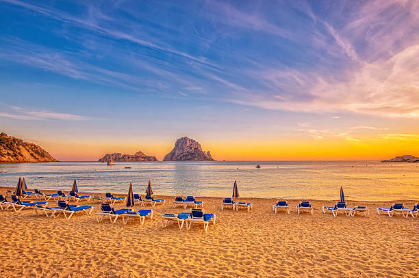 Beautiful sunset beach at Cala d´Hort on Ibiza:スマホ壁紙(壁紙.com)