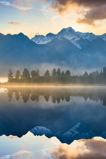 South Westland「Beautiful scenery landscape of the Matheson Lake Fox Glacier town Southern Alps Mountain Valleys New Zealand」:スマホ壁紙(19)