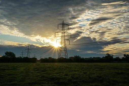 Moody Sky「Power Transmission Lines Dawn 3」:スマホ壁紙(18)