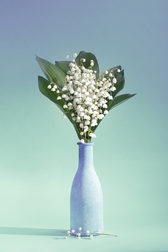 Birthday Card「Lilies Of The Valley (Convallaria Majalis) - bouquet of flowers in a vase on an aquamarine background」:スマホ壁紙(8)