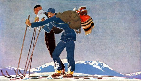 Ski「Ski guides, 1930s - drawing by René Vincent」:写真・画像(19)[壁紙.com]