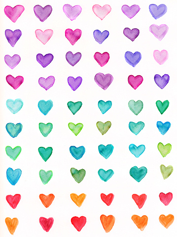 バレンタイン「ハンドペイントのハートに、虹色のスペクトル」:スマホ壁紙(11)