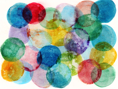 Pink Color「Hand painted circles of multiple colors on a white background」:スマホ壁紙(13)