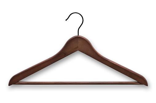 Rack「Elegant, wooden, dark brown clothes hanger isolated on white」:スマホ壁紙(2)