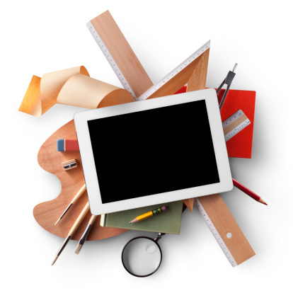 Touch Screen「Education. Digital tablet with school supplies.」:スマホ壁紙(13)