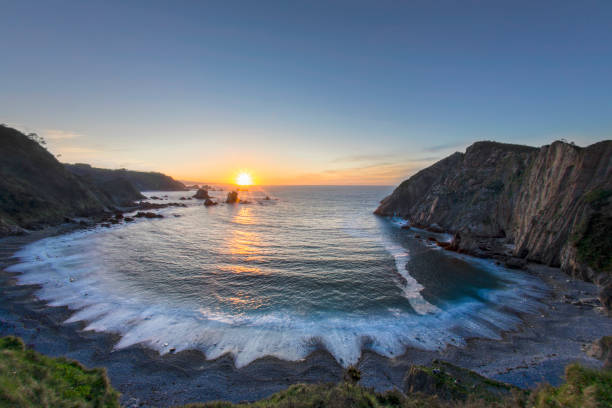 Sunset on the El Silencio Bay of Biscay:スマホ壁紙(壁紙.com)