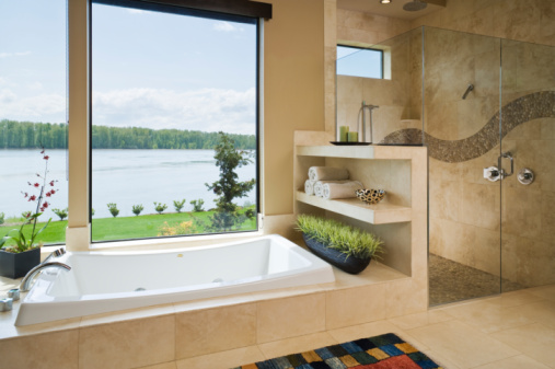 Indulgence「Interior bathroom with view of Columbia River.」:スマホ壁紙(0)