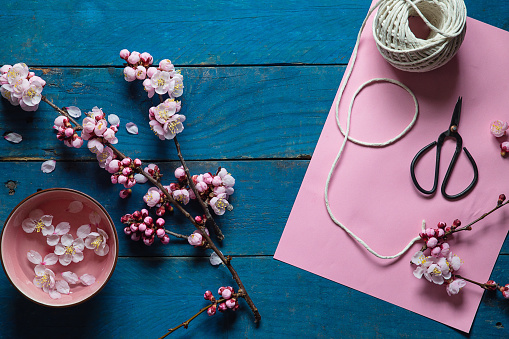 Cherry Blossoms「pink cherry blossom, scissors, paper and string」:スマホ壁紙(13)