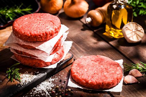 Raw Food「Raw burger patties on rustic wooden table」:スマホ壁紙(8)