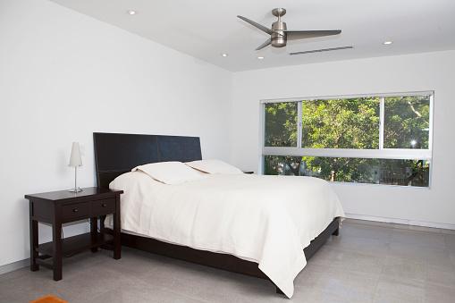 Ceiling Fan「Bed, night table and window in modern bedroom」:スマホ壁紙(7)