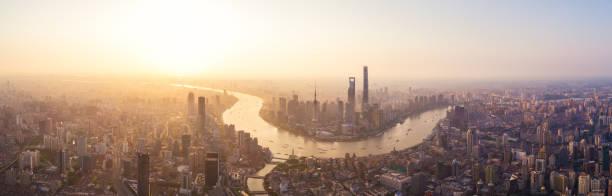 Panoramic skyline of Shanghai, aerial view.:スマホ壁紙(壁紙.com)