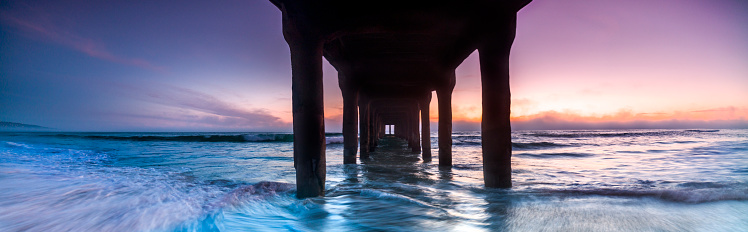 Manhattan Beach「Panoramic sunset view from underneath of Manhattan Beach Pier, Los Angeles, USA」:スマホ壁紙(13)