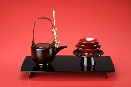 お正月「Pile of Sake cups and teapot, red background」:スマホ壁紙(13)